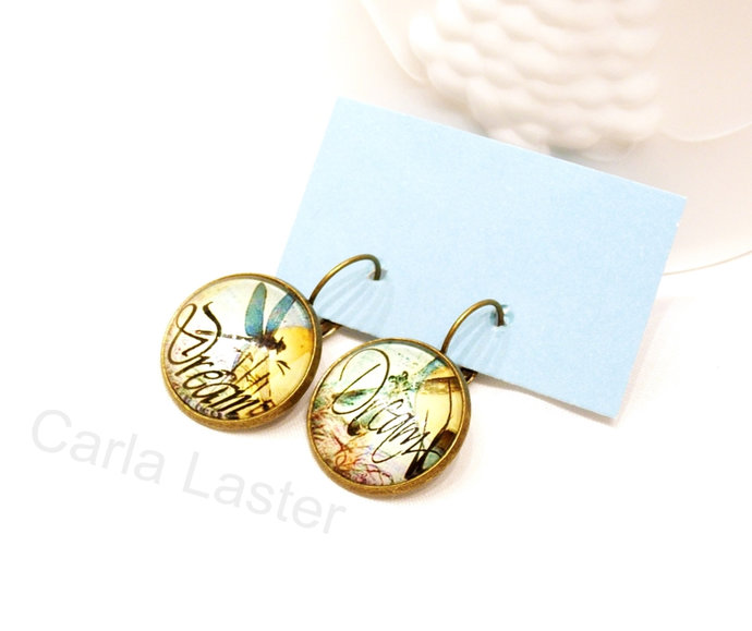 One of a kind dragonfly earrings, asymmetrical lever back earrings, blue and