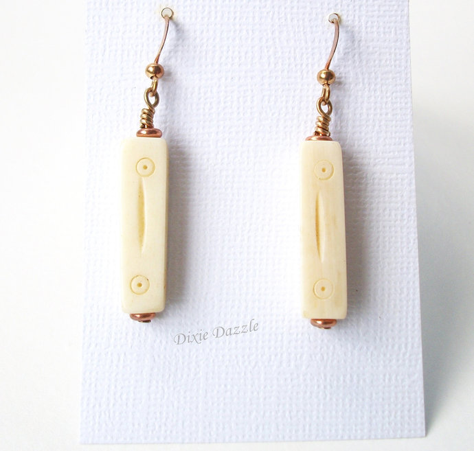 Carved bone earrings with copper ear wires, lightweight earrings with bone and