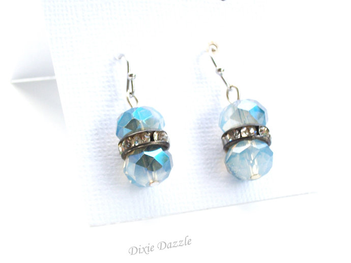 Blue earrings with rhinestones, faceted crystal earrings, made in Tennessee