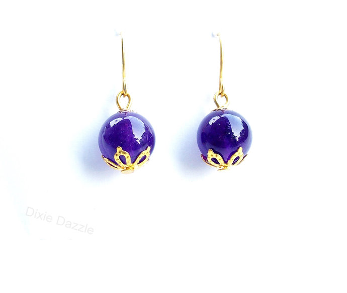 Purple violet drop earrings, simple and classic style earrings, gold earrings,