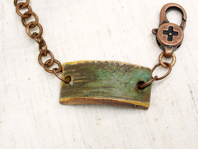 Rustic ceramic bracelet, clay jewelry with stoneware clay focal, copper