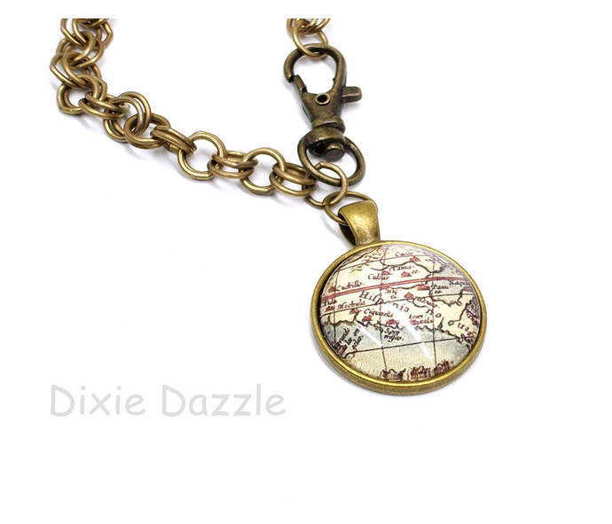 Map jewelry, Bronze charm bracelet, old world map charm, large clasp, easy open