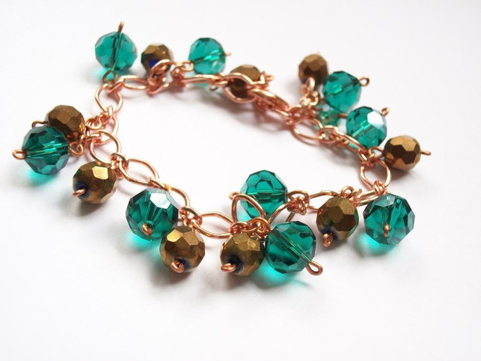 Beaded teal blue and bronze crystal copper bracelet. Adjustable bracelet with