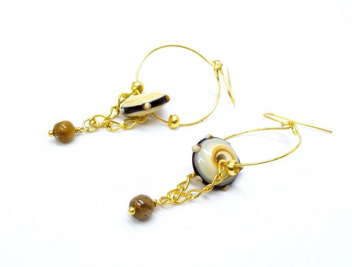 Hoop earrings with lampwork beads and tigereye, gold earrings, gold hoop