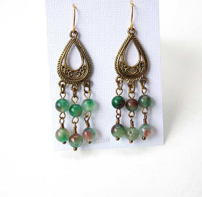 Green chandelier earrings with green agate, gold earrings, antiqued gold