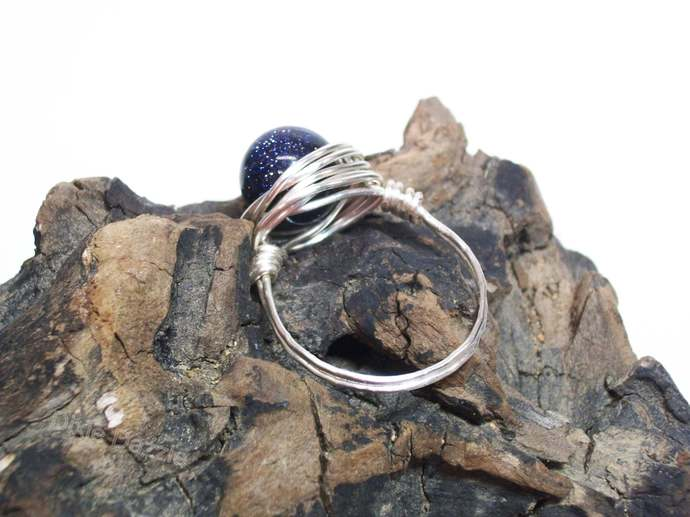 Blue goldstone wire wrapped ring, size 9.  Blue and silver hand wrapped ring