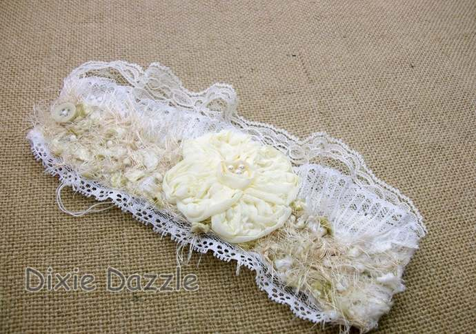 Fabric Flower Cuff Bracelet, Textile Cuff, Wrist Corsage, Tattered Cuff