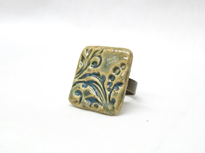 Handmade ceramic ring, textured ceramic ring, handmade near Chattanooga,
