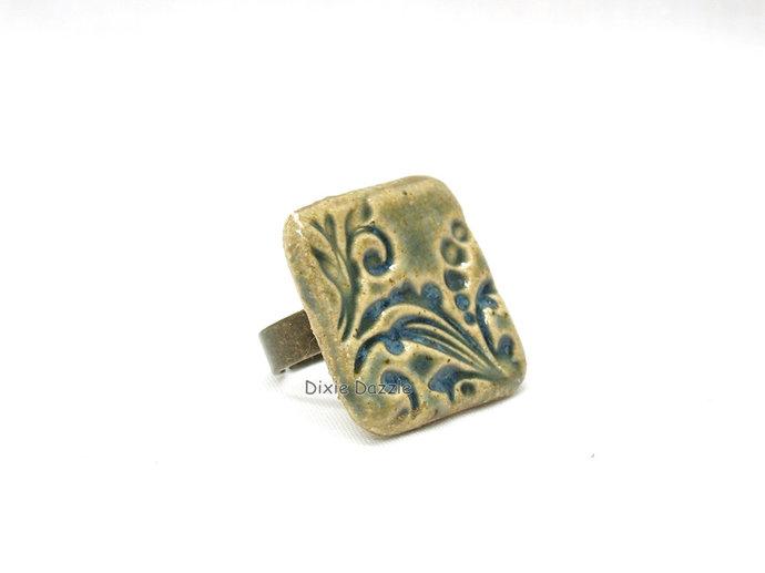 Handmade ceramic ring, textured ceramic ring, handmade near Chattanooga,