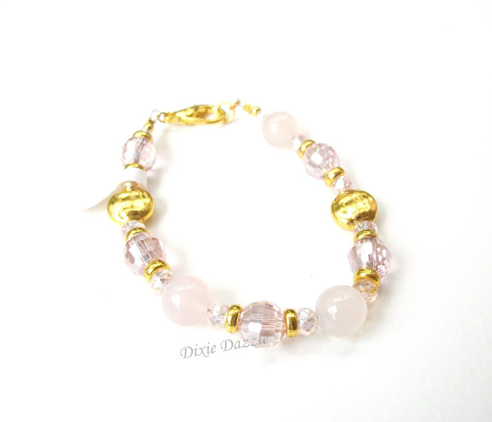 Natural stone rose quartz and faceted crystal bracelet, gold and pink bracelet,