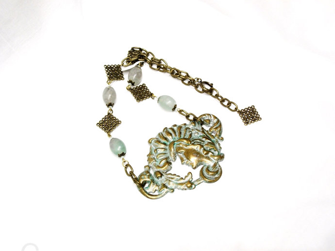 Bronze Repousse Necklace, adjustable necklace, patina, pastel fluorite stone