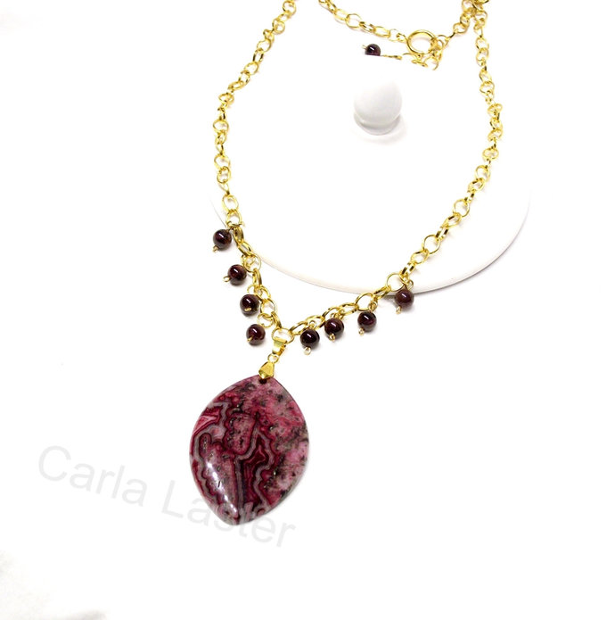 Garnet January birthstone necklace, Purple necklace with garnet and crazy lace