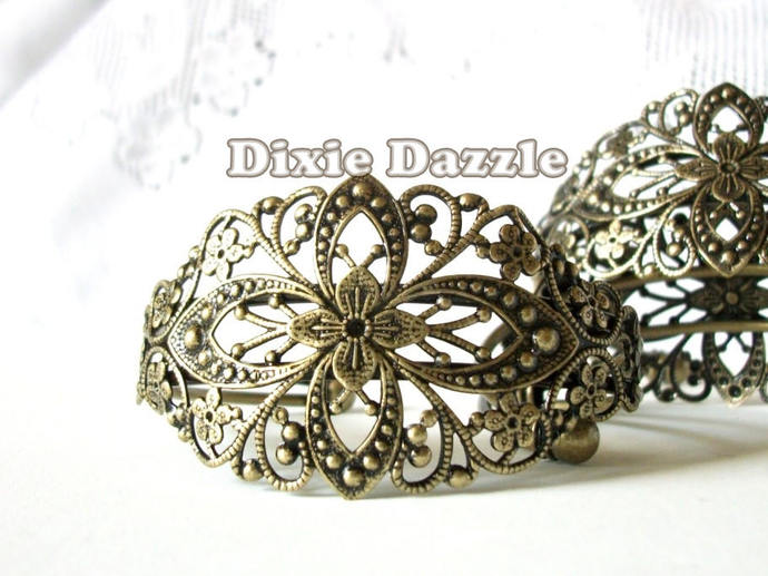 20 bronze filigree cuff bracelets, diy wedding jewelry, bronze bracelet, vintage