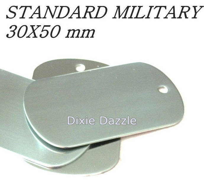 20 stainless steel metal Dog Tags, military Size 50x30, dogtag stamping blank,
