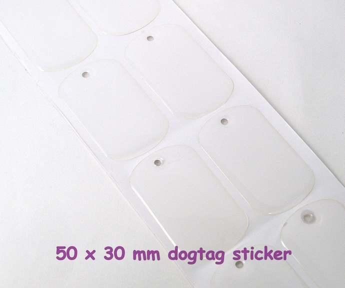 40 Dog tag seals, standard military size 30x50mm dog tag clear epoxy stickers
