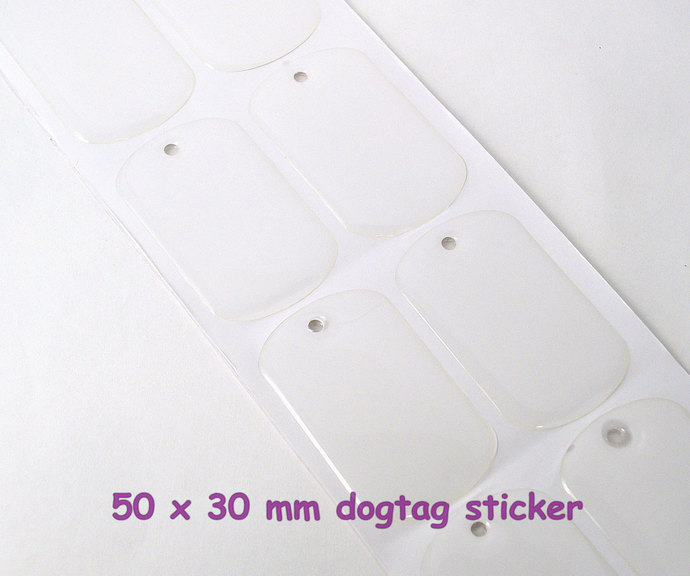 20 Dog tag seals, standard military size 30x50mm dog tag clear epoxy stickers
