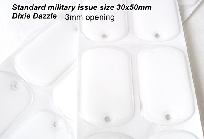 100 Dogtag seals, 30x50mm standard military size dog tag clear epoxy stickers