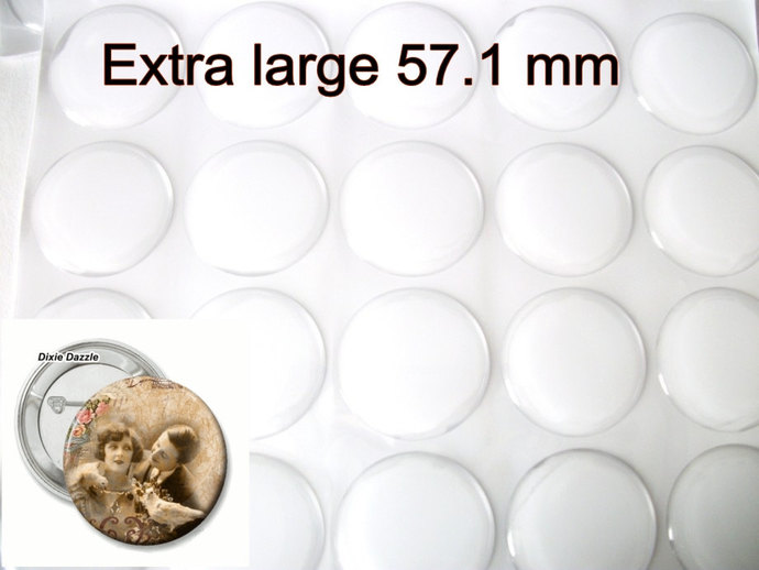 50 Extra large 57.1 mm epoxy stickers for mirrors, badges, pill boxes.  Self