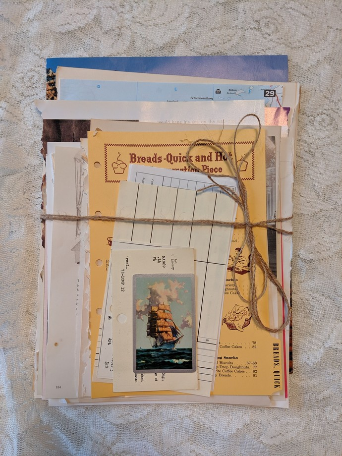 Vintage book pages and ephemera pack - 55 pcs