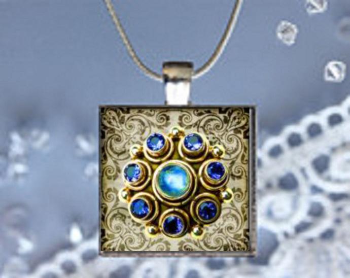 Pendant Necklace Gem Stones