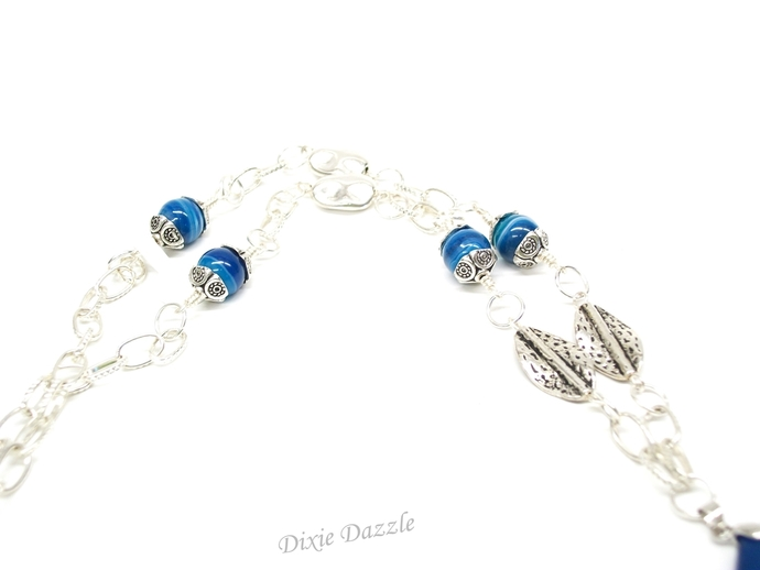 One of a kind long boho style Blue agate necklace with large link textured