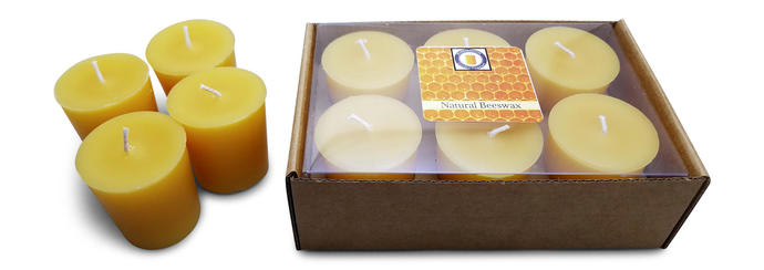 15 Hour Natural Beeswax Votive Candle Set | Beeswax Candle | Cotton Wick Candle