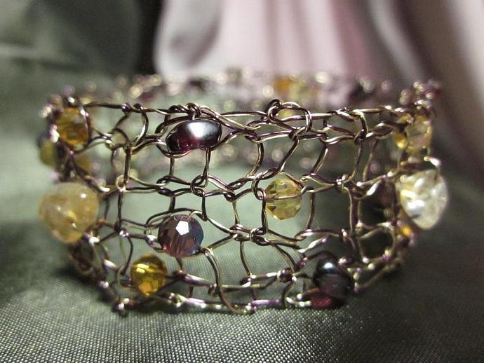 Purple Gold Double Strand Knit Wire Bracelet for sale