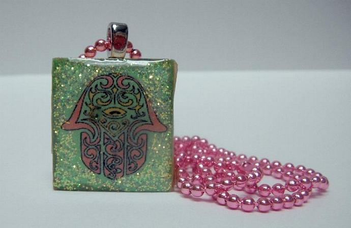 Green Hamsa Scrabble Tile Pendanet Necklace