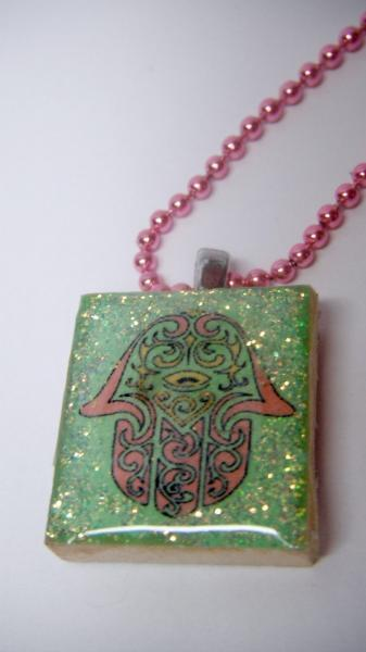 Green Hamsa Scrabble Tile Pendanet Necklace