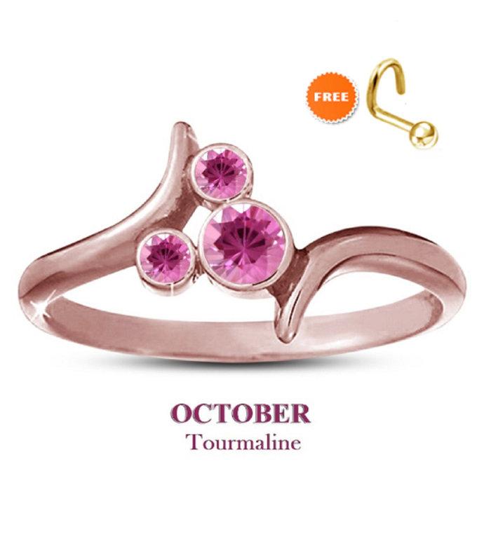 14K Rose Gold Finish Pink Sapphire Disney October Birthstone Ring 925 Sterling