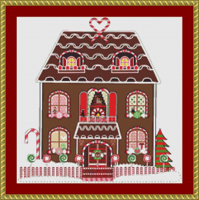 Gingerbread House Cross Stitch Pattern - Instant Digital Downloadable Pattern