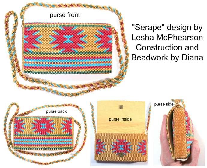 Serape Purse - 1 Drop Odd Peyote Bead Pattern - Miyuki Size 8 Delicas