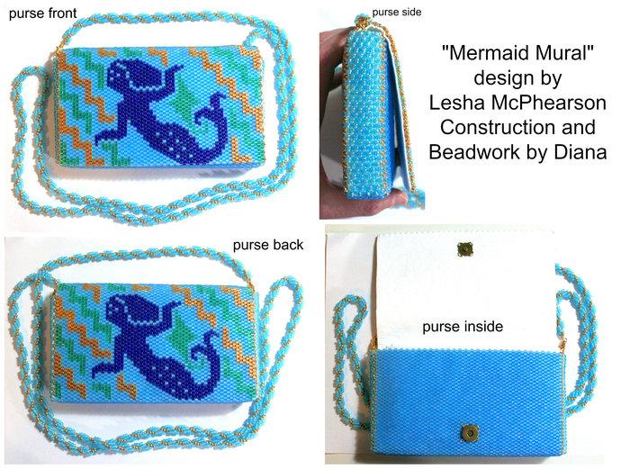 Mermaid Mural Purse - 1 Drop Odd Peyote Bead Pattern - Miyuki Size 8 Delicas