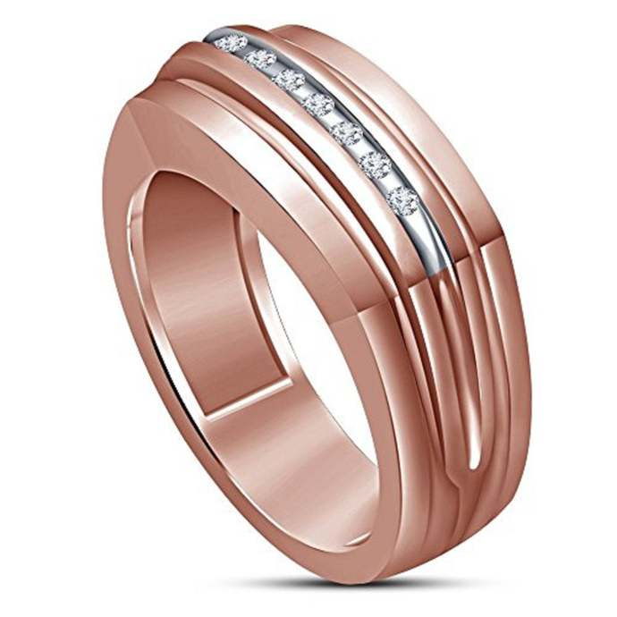 10K Rose Gold Finish Round Black Diamond Engagement Pinky Band Men's Wedding