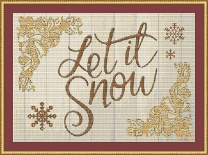 Let It Snow Cross Stitch Pattern - Instant Digital Downloadable Pattern