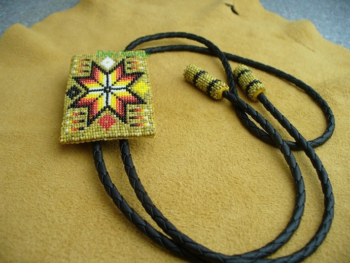 Native American Style Square Stitched Four Direction Morning Star Beaded Bolo