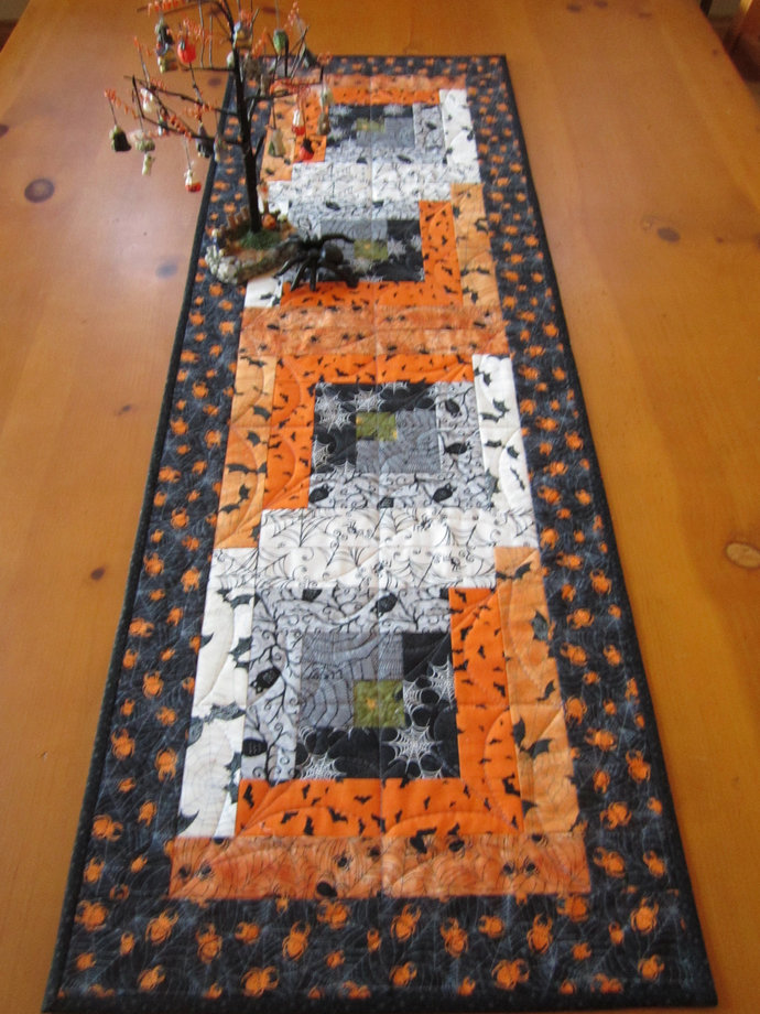 Table Runner Halloween Handmade Quilted Owls Bats Spiders