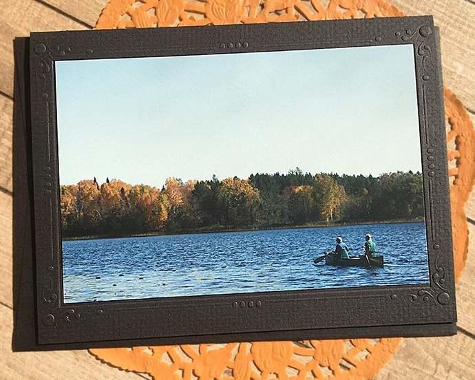 Fall Canoe Fine Art Photography Note Card, Autumn, Leaves, Lake, Minnesota,