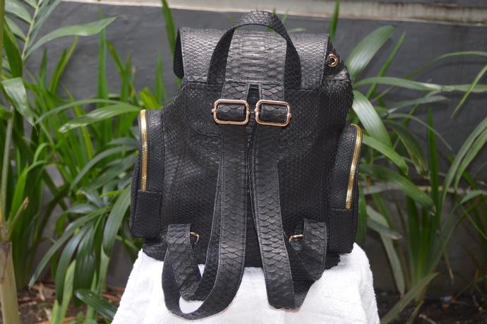 Drawstring Python Snakeskin Leather Backpack Bag