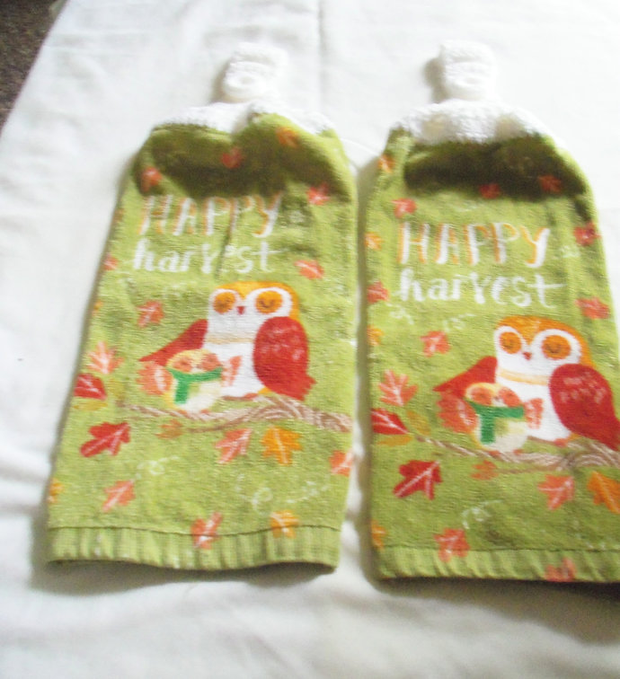 Happy Harvest Mama & Baby Owls Design Kitchen Hanging Towels Med Quality (2)