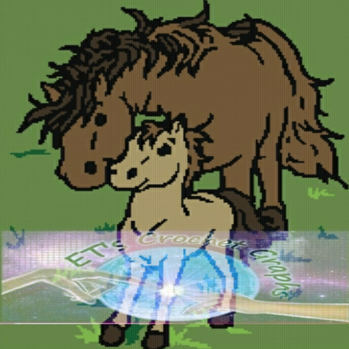 Horse with Filly - Filly Love SC 180x240 Graph with Written Color Chart
