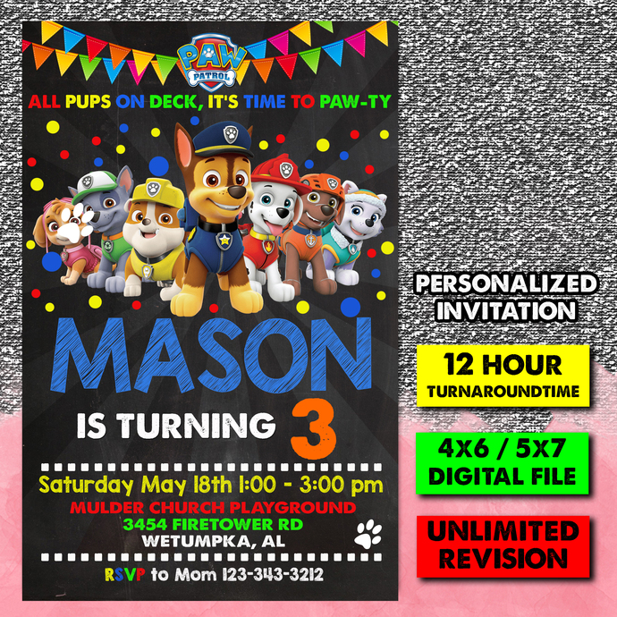 Paw Patrol Birthday Invitation, Paw Patrol Invitation, Paw Patrol Party