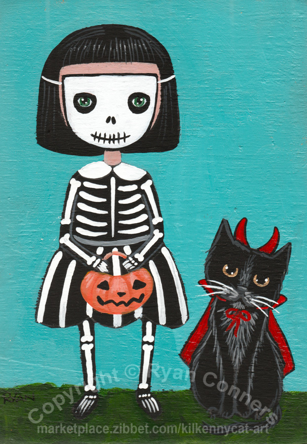 Trick or Treat Skeleton and Devil Original Halloween Cat Folk Art Painting