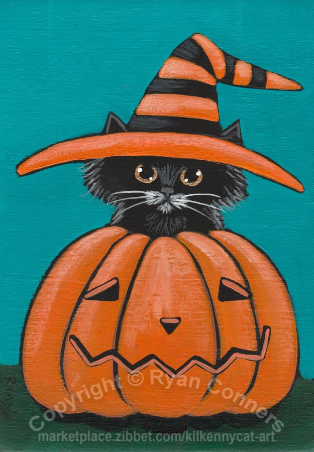 Little Witch in a Pumpkin Original Halloween Cat Folk Art Painting