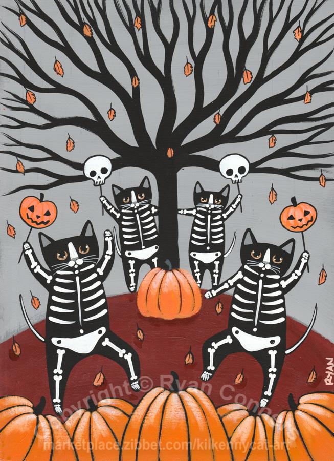 Halloween Celebration Skellie Cats Original Halloween Cat Folk Art Painting