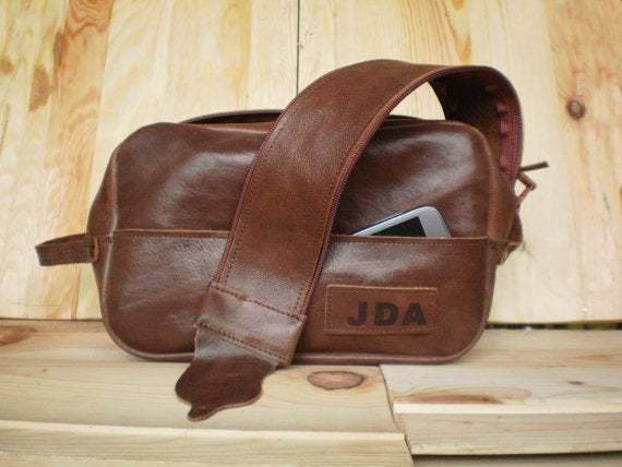 Large Dopp Kit, Leather pouch, Cosmetic bag, Make-up, Mens toiletry bag,