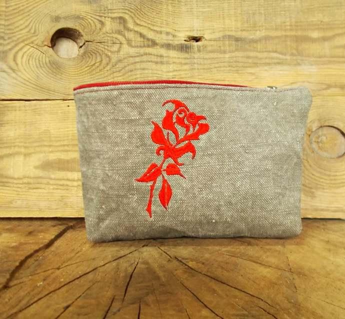 Womens cosmetic bag, Makeup, Toiletry bag, Flower, Bridesmaid clutch,