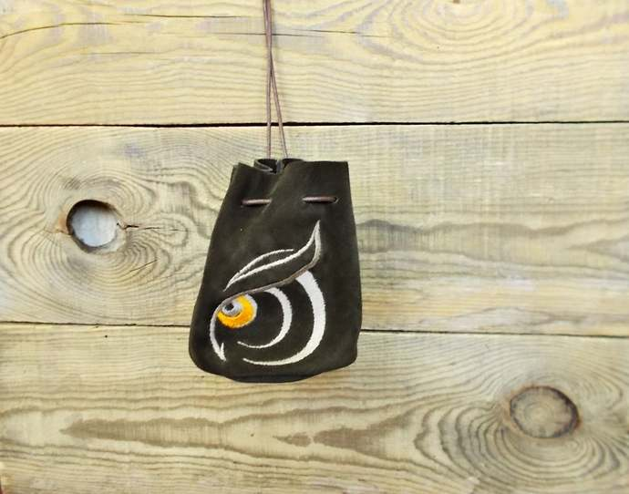 Drawstring leather pouch, Coin Purse, Owl, Tobacco, Medieval bag, Small leather