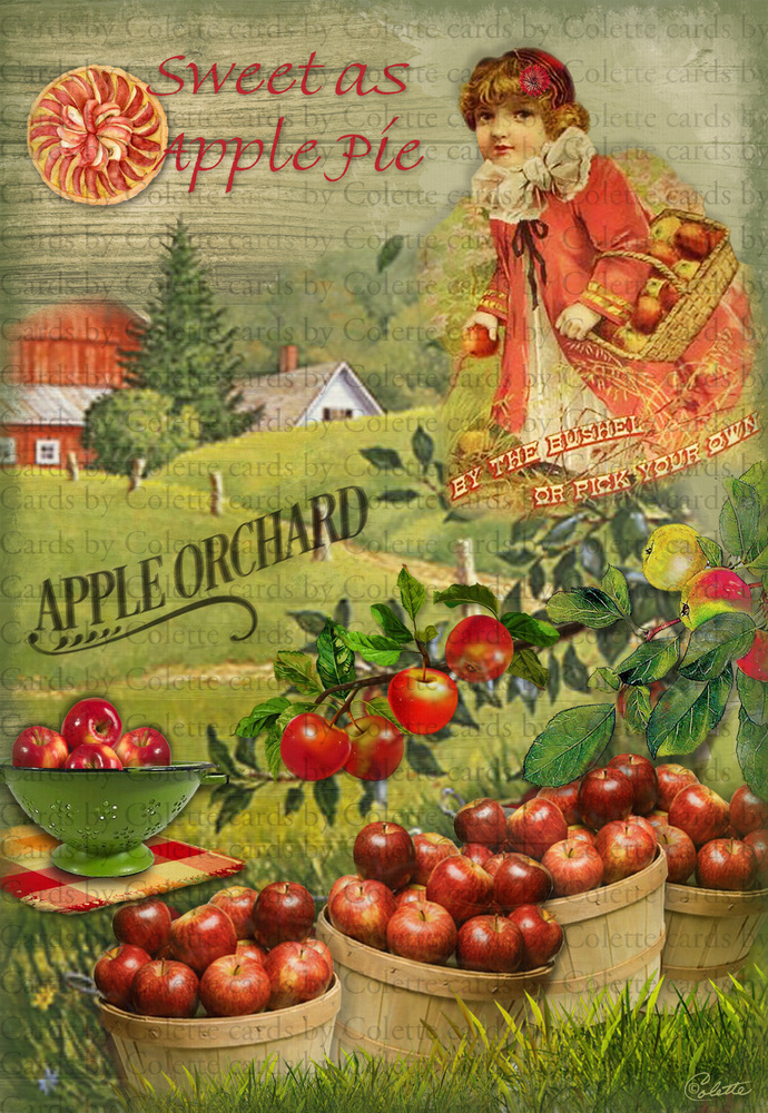 Girl in an Apple Orchard Digital Collage Greeting Card2422