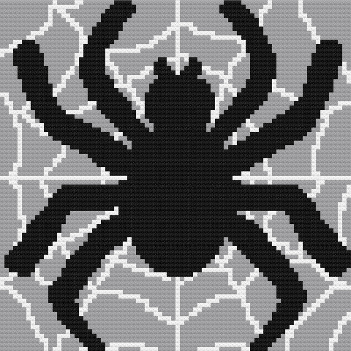 Spider in Web C2C Crochet Pattern PDF Halloween Spiderweb Throw Afghan Graphghan